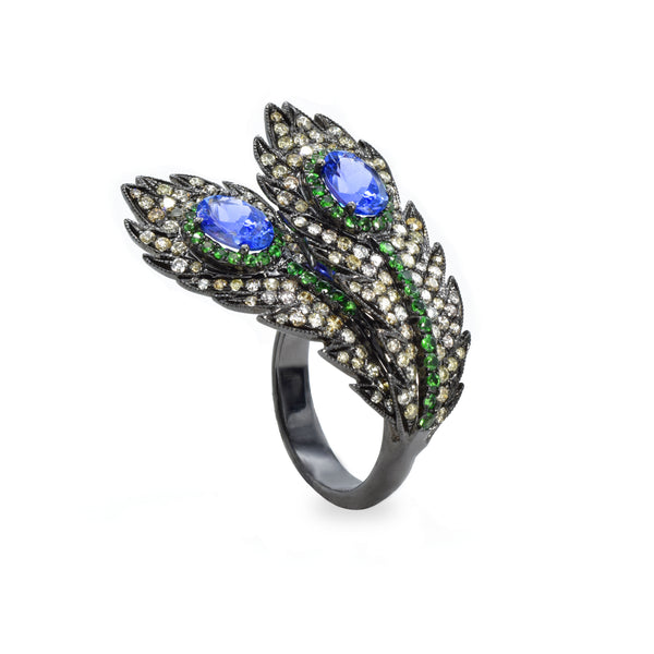 18kt Gold Tanzanite, Diamond, Tsavorite Double Peacock Feather Ring