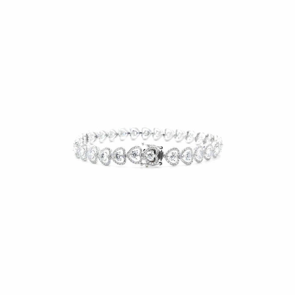 18kt White Gold Fancy Link Diamond Bracelet