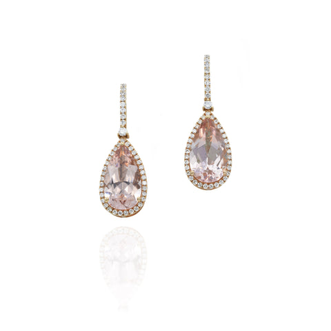 18kt Rose Gold Morganite and Diamond Drop Earrings