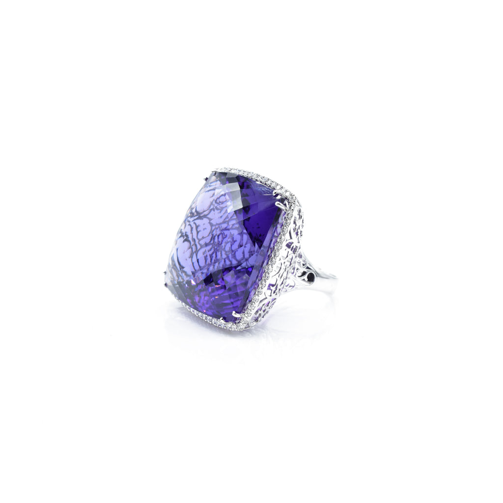 18kt White Gold 100ct Amethyst & Diamond Ring