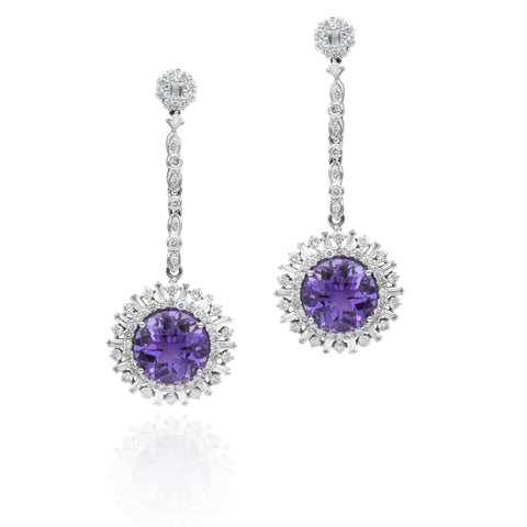 18kt White Gold, Amethyst, Diamond Circle Drop Earrings
