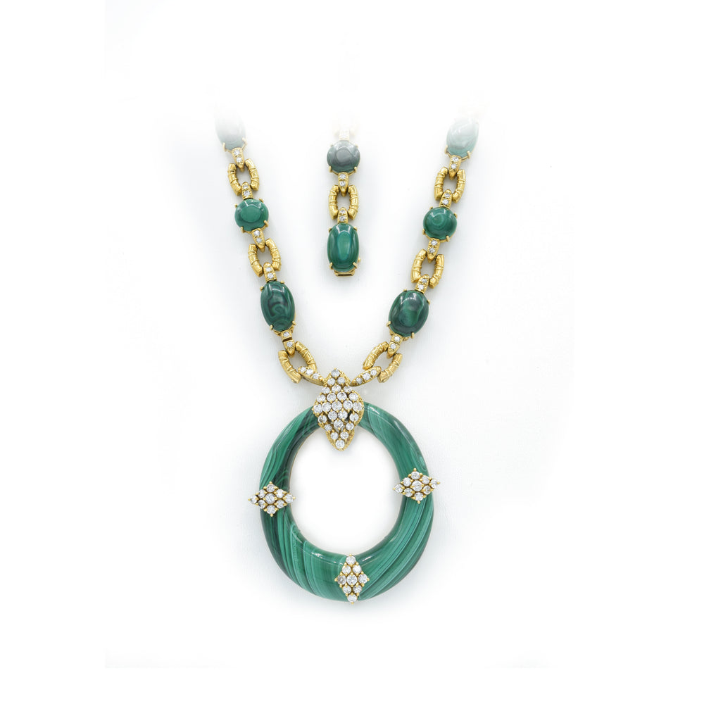 European Estate 18kt Gold Malachite and Diamond Convertible Necklace