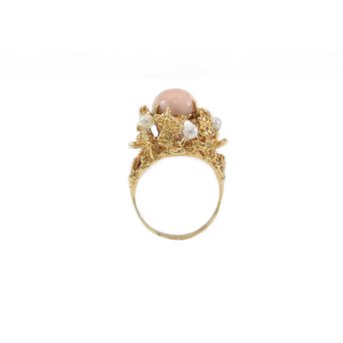 Estate Ring 14kt Gold with Coral and Pearl
