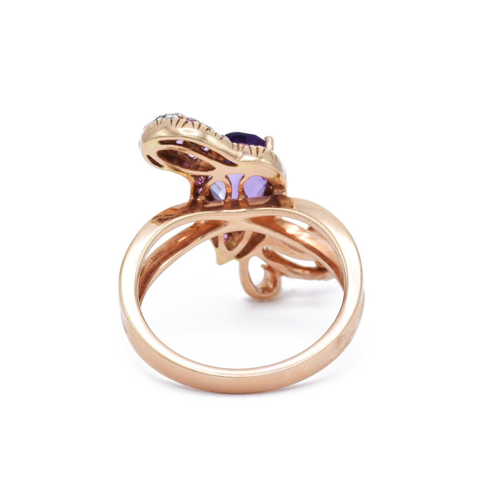Parrot Ring with Amethyst, Sapphires, and Diamonds