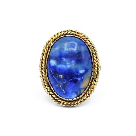 Estate Natural Sodalite, Gold Ring