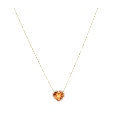 18kt Yellow Gold Heart-Shaped Citrine Pendant