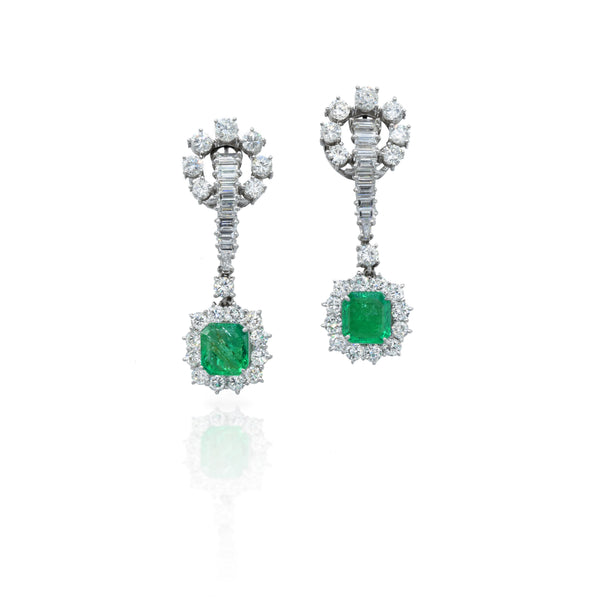 Estate 1920's 4.50ct Diamond and Emerald Earrings