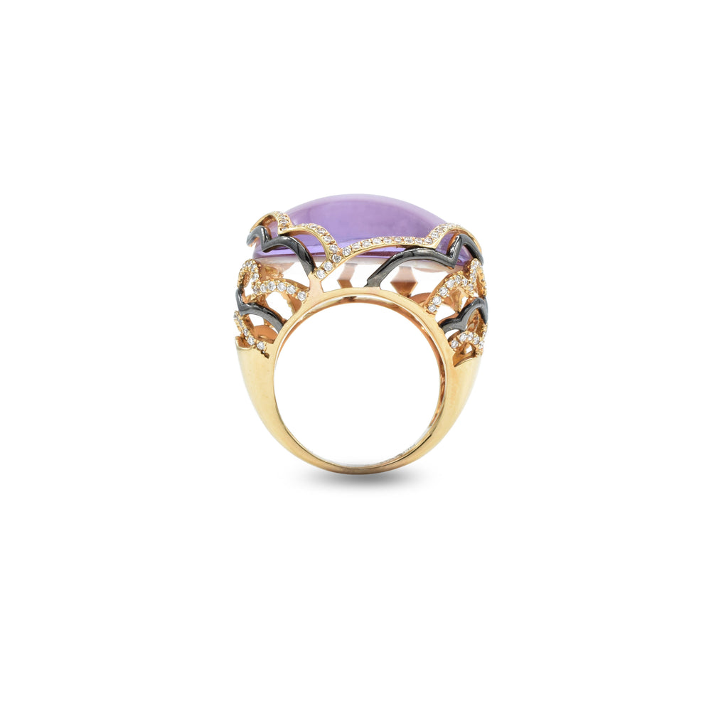 18kt Rose Gold Amethyst and Mother Of Pearl Ring