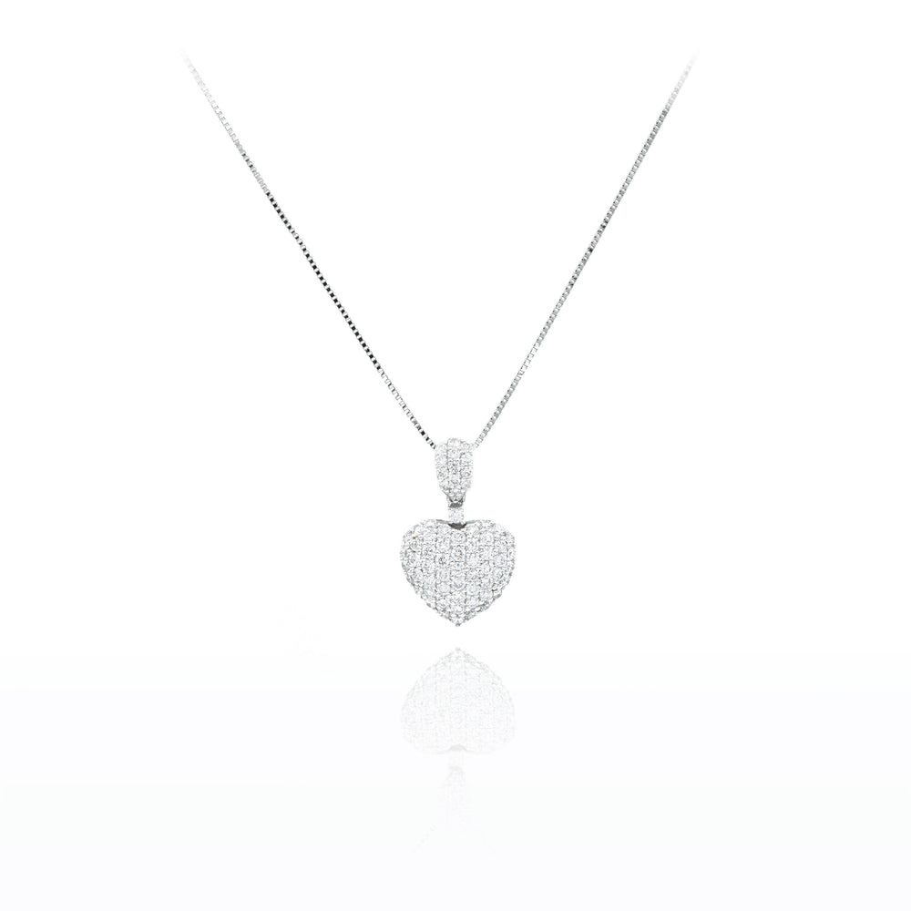 18kt White Gold Micropave Diamond Heart