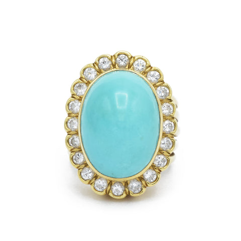 Estate Natural Turquoise Ring with Diamonds