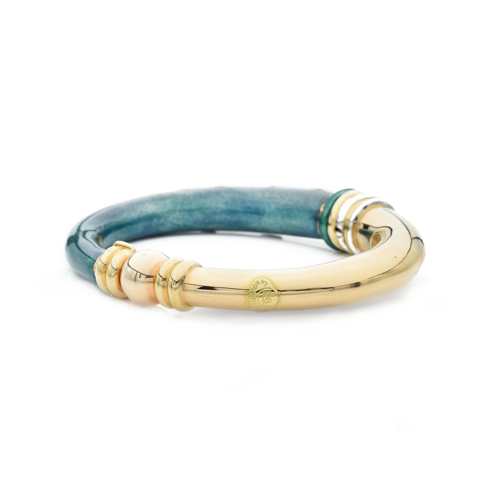 Estate 18kt Gold Enamel and Diamond Bangle