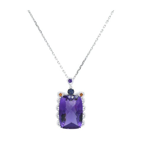 18kt White Gold Amethyst Pendant With Citrine and Sapphires