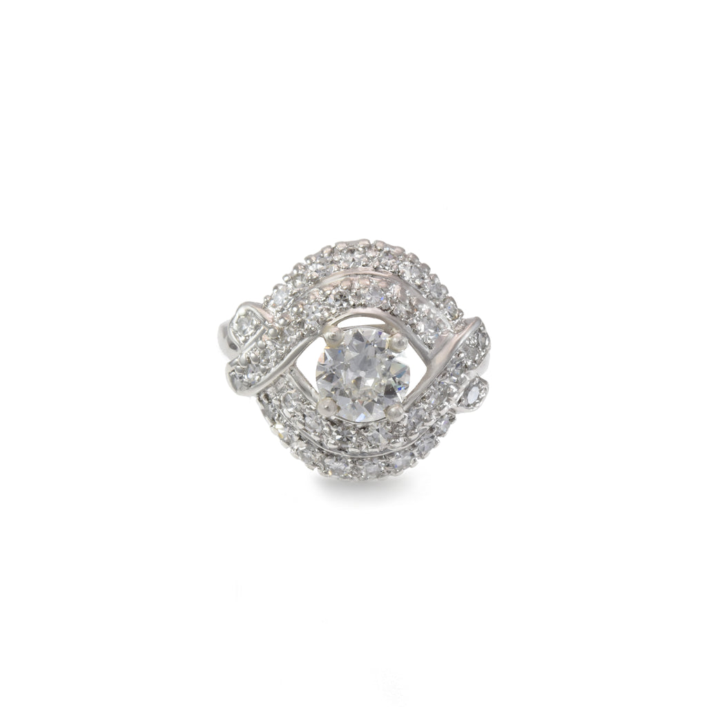 Estate Ring 1930s Platinum with .83ct & .78ct Diamonds