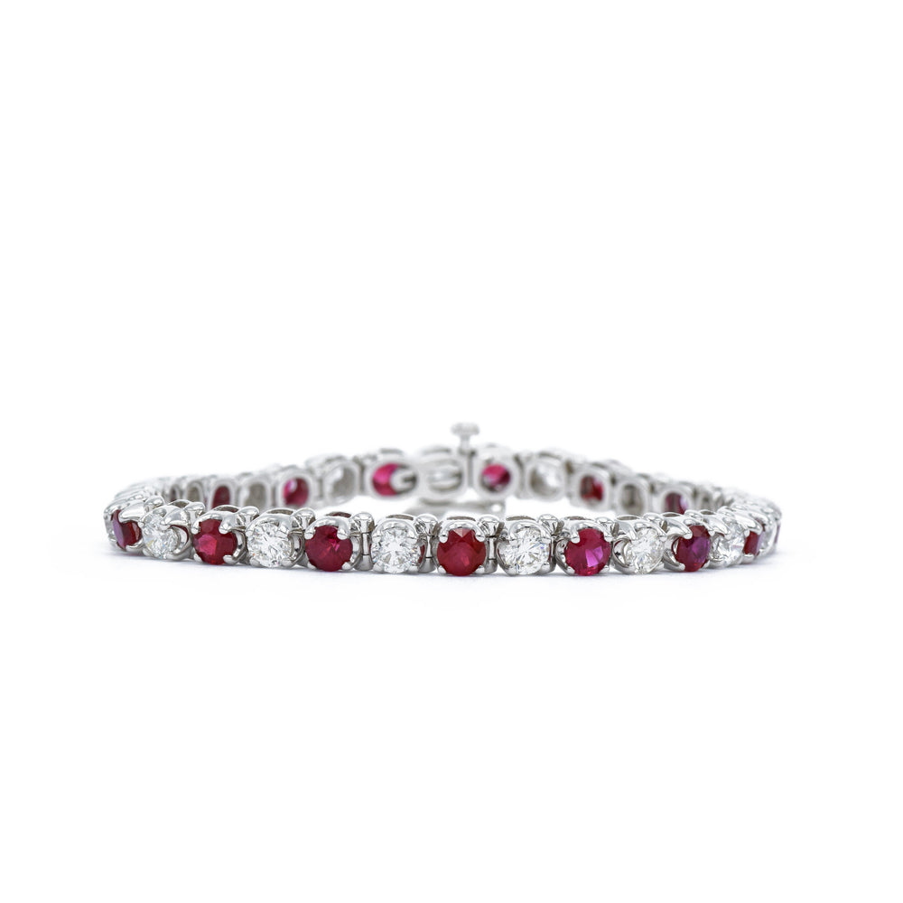 18kt White Gold Round-cut Ruby Bracelet