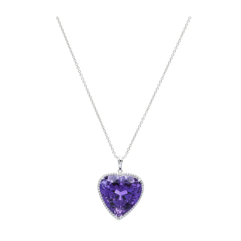 18kt White Gold Heart-Shaped Amethyst Pendant