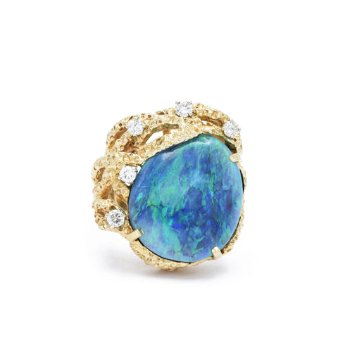 Estate Black Opal and Diamond Ring