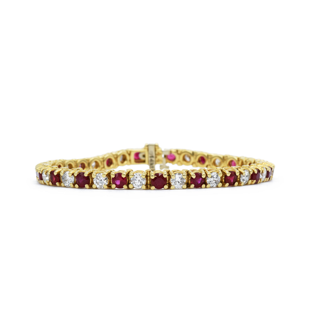 14kt Yellow Gold Ruby Tennis Bracelet