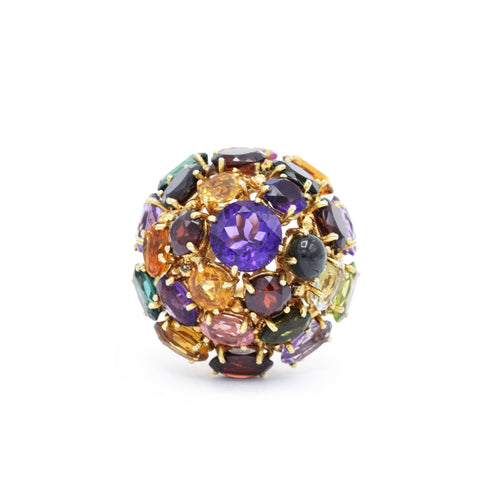 Vintage Natural Multicolor Semiprecious Dome Ring