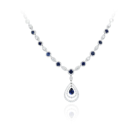 18kt White Gold Sapphire and Diamond Necklace