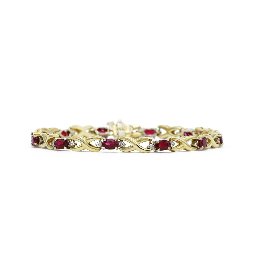 14kt Yellow Gold Ruby Infinity Bracelet