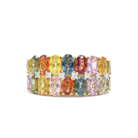 18kt Multicolor Sapphire, Two-Row RIng