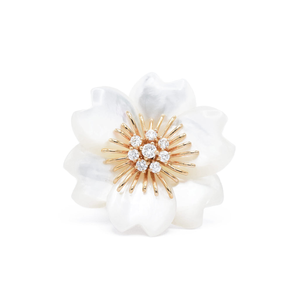 18kt Rose Gold, Mother of Pearl Flower Ring