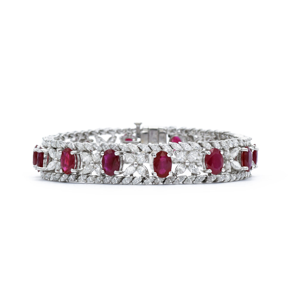 18kt White Gold, Diamond and Ruby Bracelet