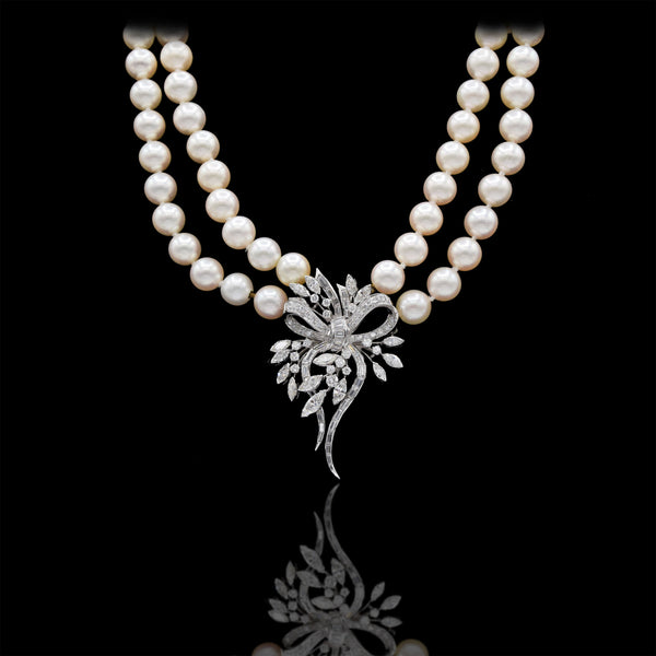 Estate Japanese Akoya Pearl, Platinum, and Diamond Necklace/Brooch