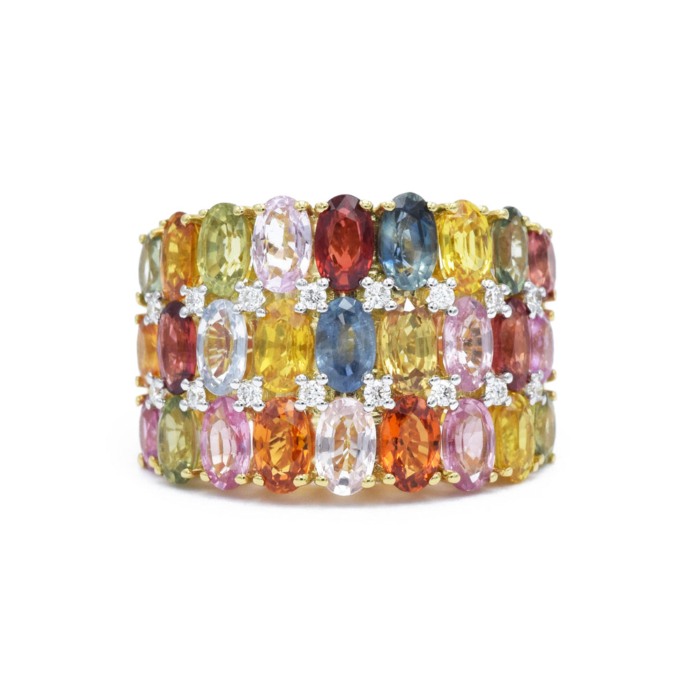 18kt Gold, Multicolor Sapphire, Triple-Row Ring