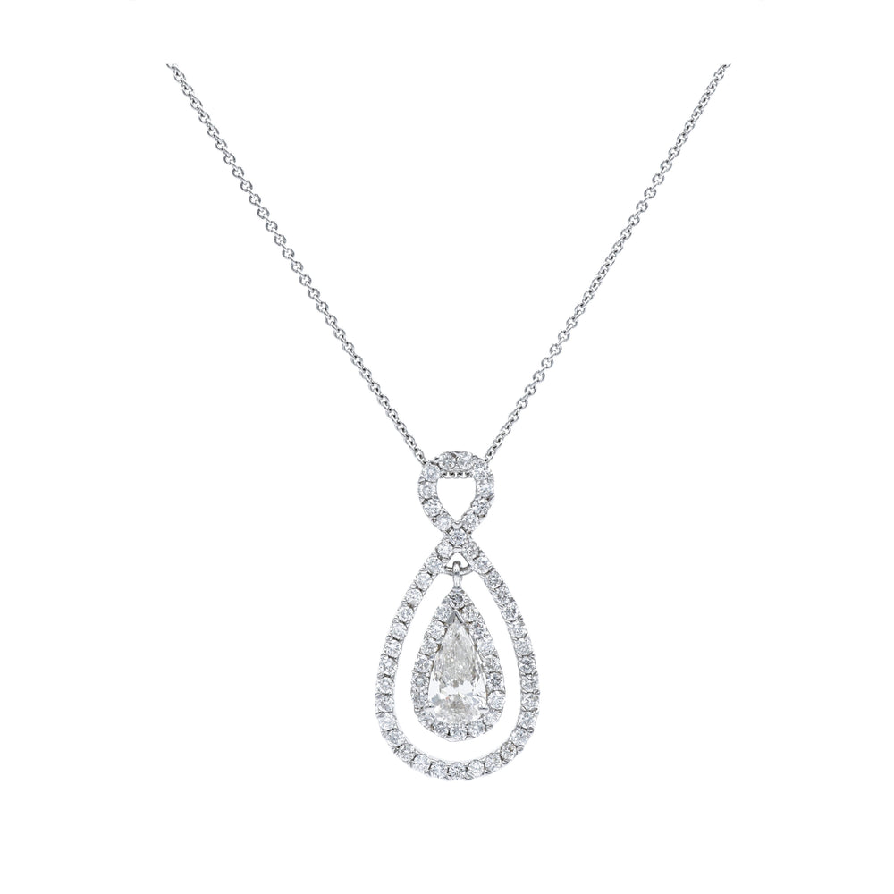 14kt White Gold, Pear-Shaped Diamond Pendant