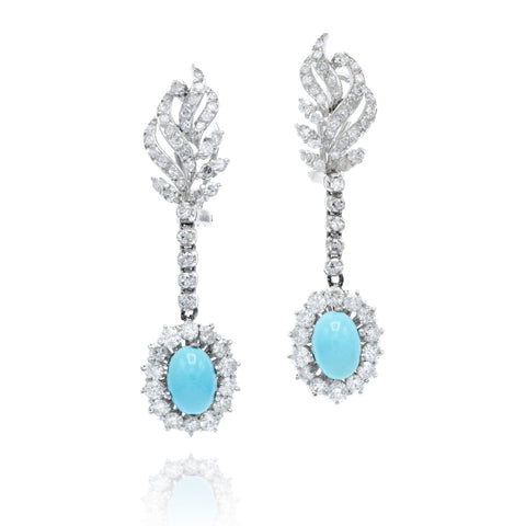 Estate Turquoise Diamond Earrings