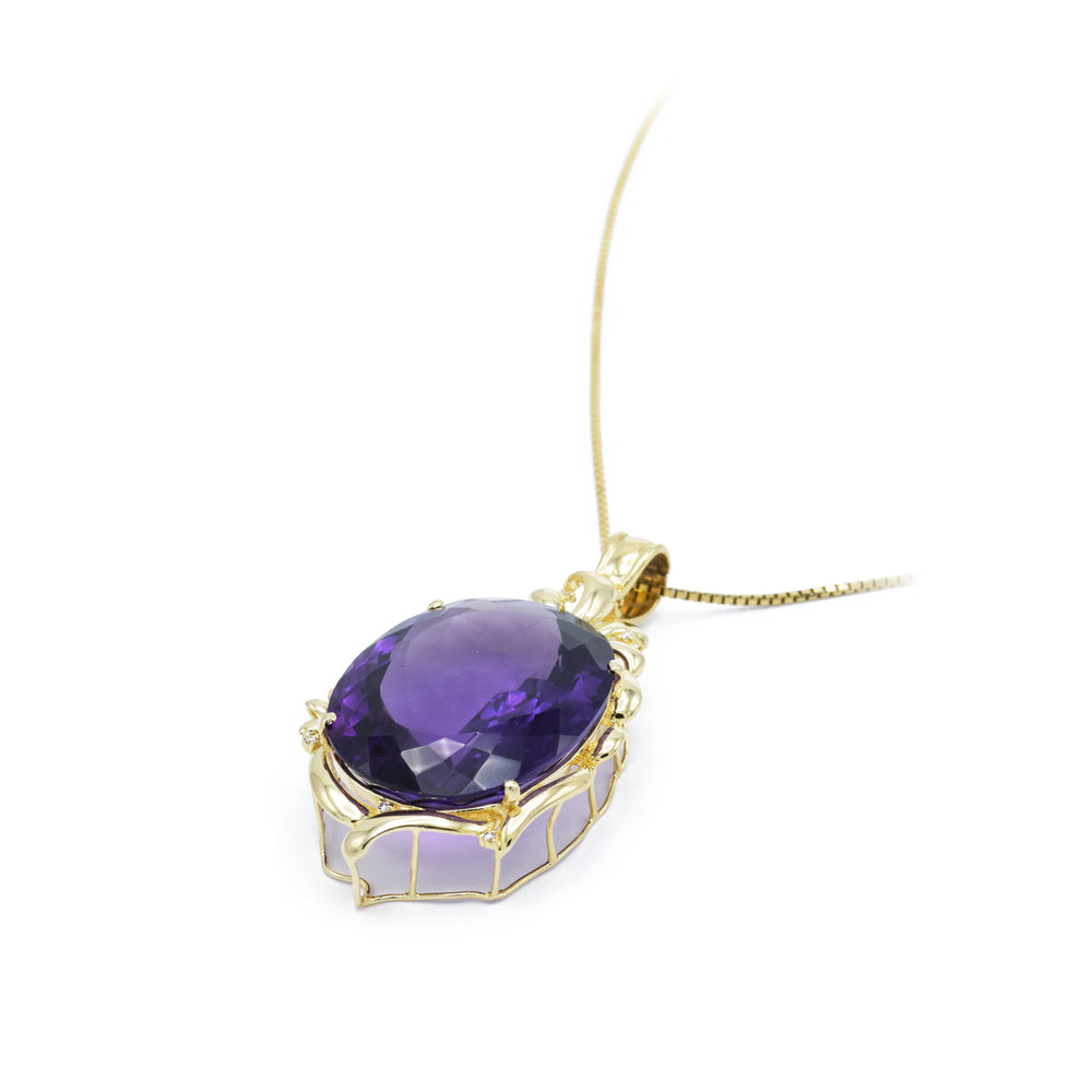 Estate Large Purple Amethyst Gold Pendant