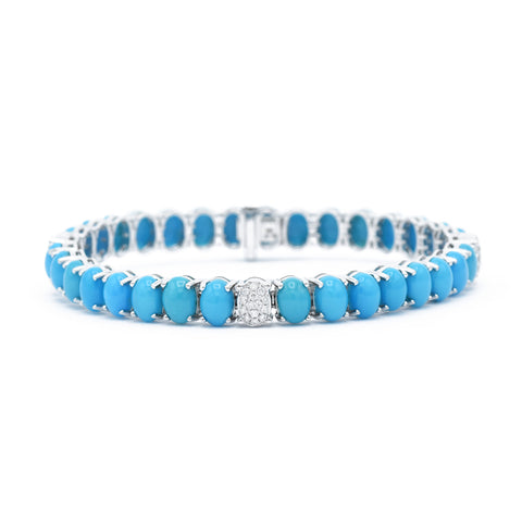 18kt White Gold Natural Turquoise Bracelet