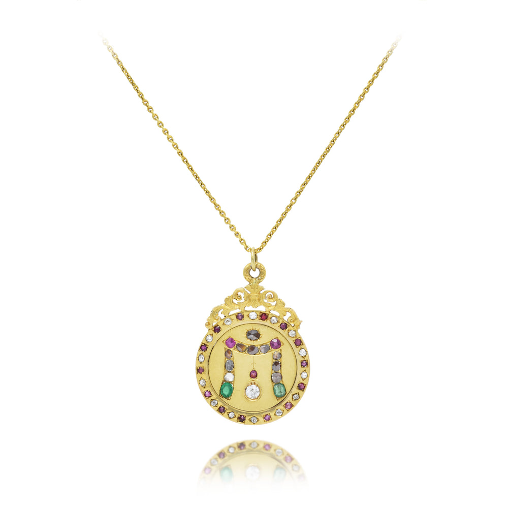Estate Diamond, Emerald, and Ruby Gold Medallion Pendant