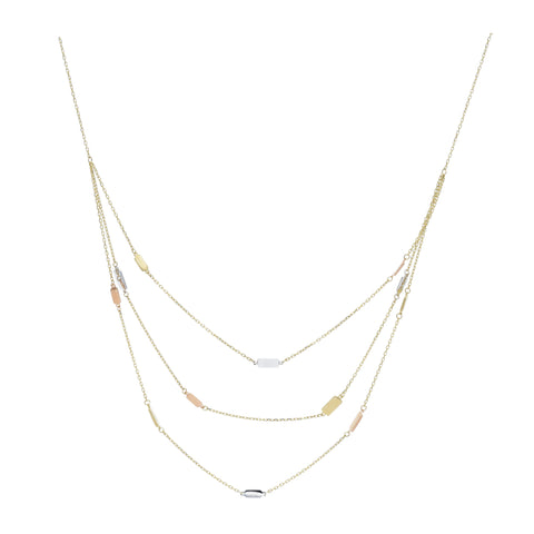 14kt Tri-Color Gold Bar Necklace