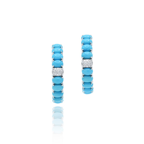 18kt White Gold Turquoise Hoop Earrings with Diamonds