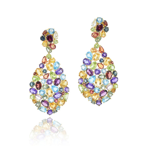 18kt Yellow Gold, Multi-color Gemstone Earrings