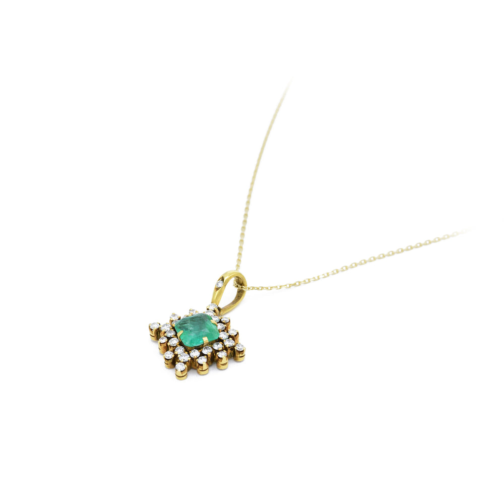Estate Square Emerald and Diamonds Pendant