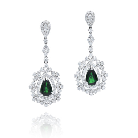 Diamond and Tourmaline Drop Earrings
