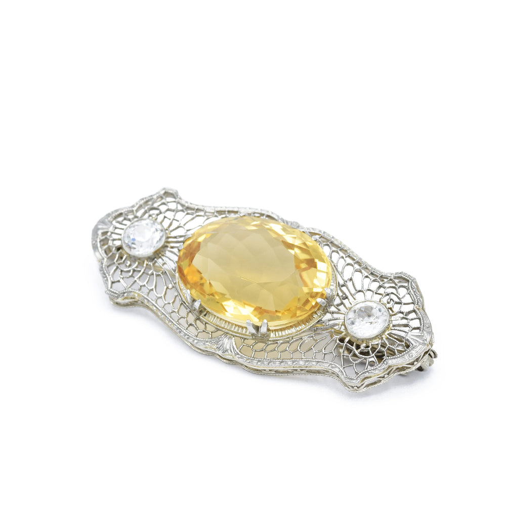 Art Nouveau, Gold Filigree with Citrine and Sapphires
