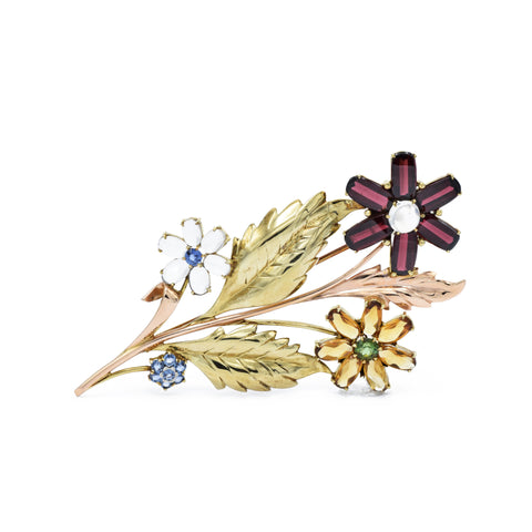 Estate Gold, Multi-stone Floral Bouquet Brooch