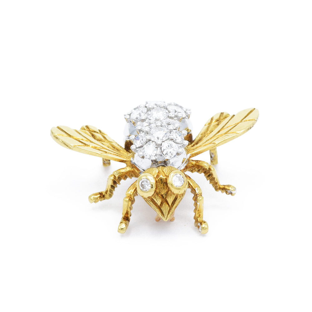 Estate 18kt Gold and Diamond Fly Pin