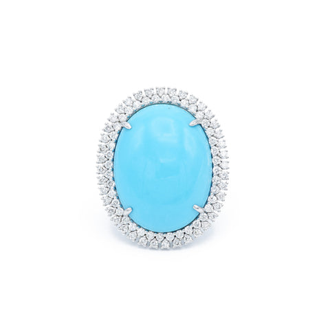 18kt White Gold Natural Turquoise Ring