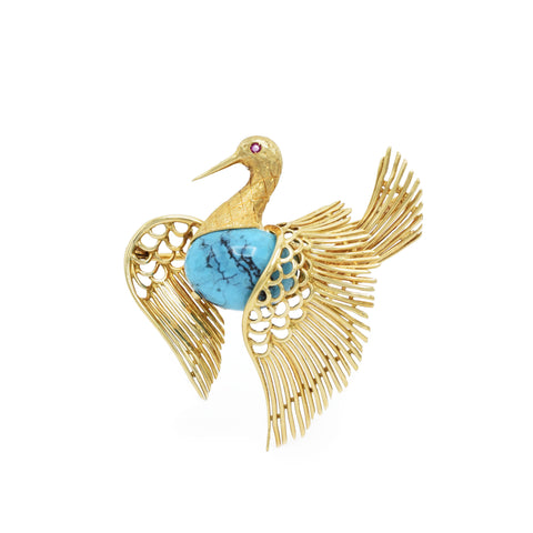 Vintage 'Cartier' Natural Turquoise Swan Pin