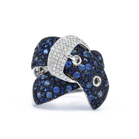 Sapphire and Diamond Buckle Ring