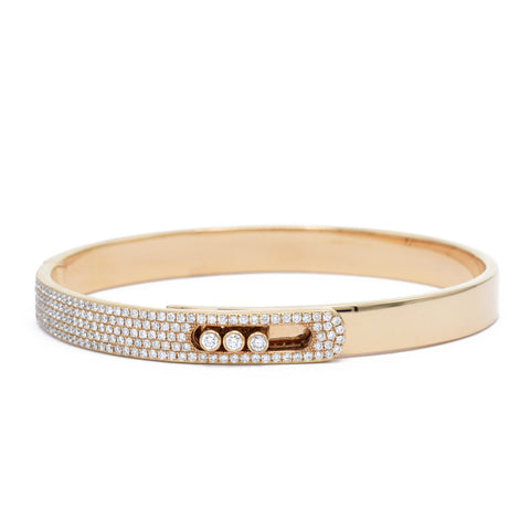 Rose Gold Buckle Bangle with Diamonds