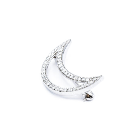14kt White Gold Diamond Moon Pin