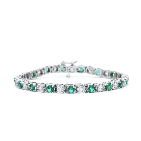 18kt White Gold Emerald Bracelet