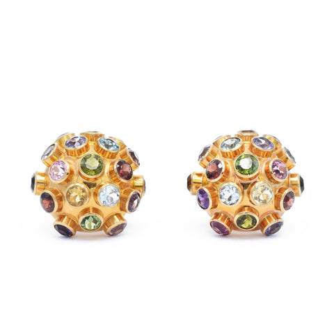 Vintage Multi-Colored Stone Dome Earrings
