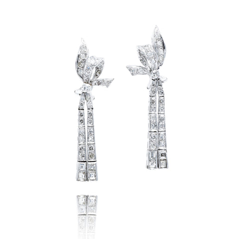 10kt White Gold and DIamond, 1930s Ribbon Earrings